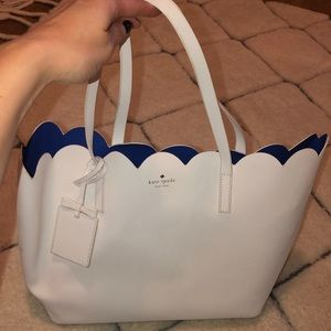 White Kate Space Scalloped Tote